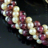 Vintage Indian Garnet and Faux Pearl Necklace.