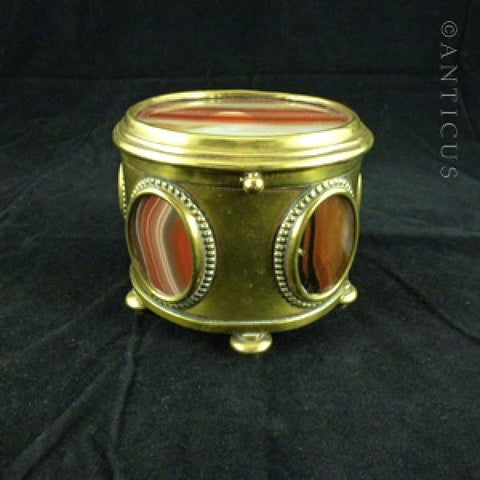 Victorian Brass and Agate Panelled Box.