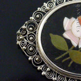 Pietra Dura Brooch, Framed in Silver Filigree.