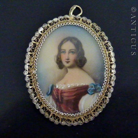 Pendant or Brooch, Hand Painted Miniature of Woman, Antique.