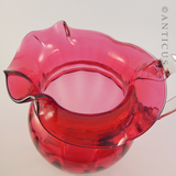 Late 1800s Cranberry Glass Jug, Very Large
