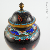 Vintage Cloisonne Lidded Vase with Dragons.