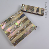 Card Case with Mother of Pearl and Abalone Inlay.