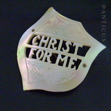 1920s Christ for Me Carved Mother of Pearl Brooch
