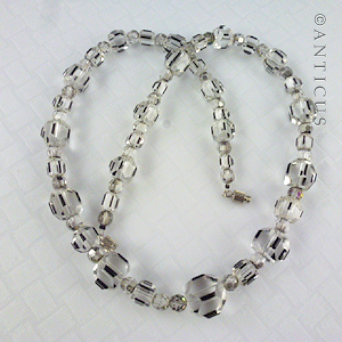 Art Deco Necklace, Crystal and Black Highlight Beads.