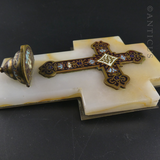 French Miniature Holy Water Font, Champeleve Enamels.