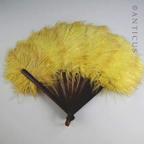 Yellow Ostrich Feather Fan, Art Deco.