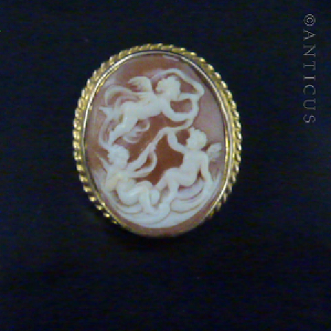 Genuine Cameo Brooch, Cherubs, Gold Mount.