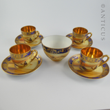 Set of 4 Camel China Cups, Saucers, Sugar, Signed.