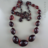 Vintage Faceted Red Amberine Long Necklace.