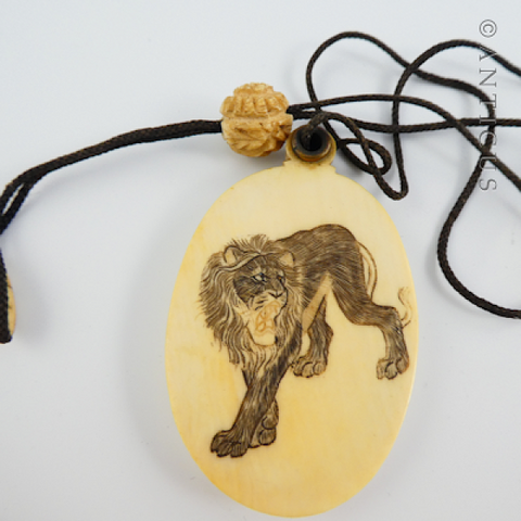 1920's Ivory Flapper's Mirror Necklace with Lion.