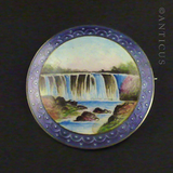Enamel and Silver Brooch of Niagara Waterfall.