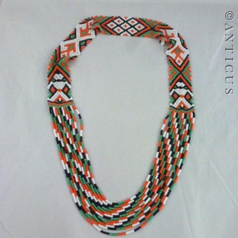 African Beadwork Necklace, Vintage.
