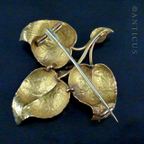 Regency High Carat Gold Leaf and Bird Brooch.