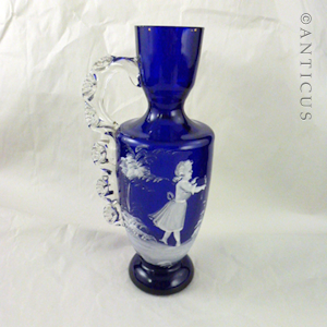 Victorian Blue Glass Mary Gregory Vase.