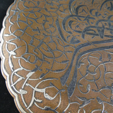Copper and Silver Middle Eastern Damascene Plate.