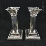 Pair Silver Plate Column Candlesticks, Late 1800s.