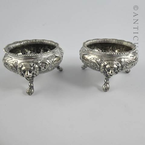 Pair of Victorian Salt Cellars with Lion Masks.