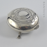 Sterling Silver Art Nouveau Small Jewellery Box.