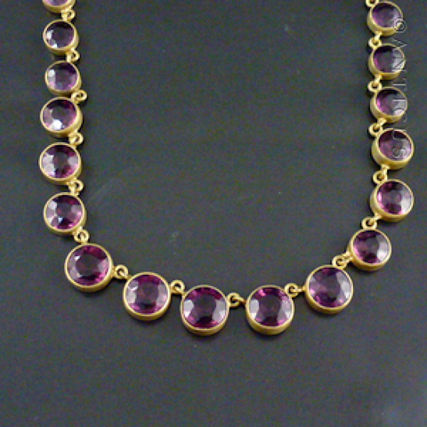 Victorian Paste Amethyst and Gilt Metal Necklace.