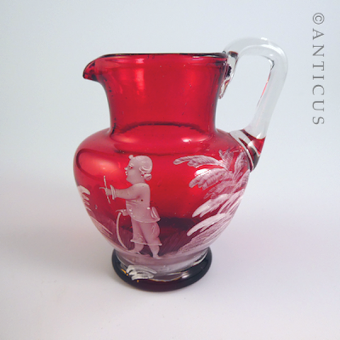 Small Mary Gregory Cranberry Glass Creamer.
