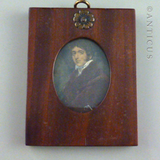 Set of Five 19th Century Mahogany Framed Miniatures.