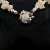 White Coral, Pearl and White Gold Necklace.