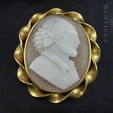 Victorian Cameo Brooch of Shakespeare, Pinchbeck Frame.
