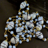 1920's Blue Glass Very Long Flapper's Necklace.