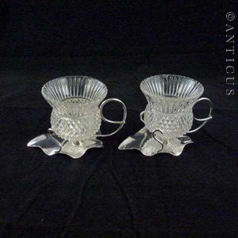 Pair of Glass Thistle and Silver Plate Salt Cellars.