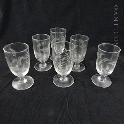Group of Six Victorian Wine Glasses, Etched Grasses Pattern.