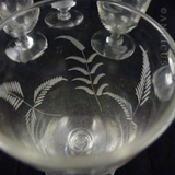 Six Victorian Wine Glasses, Etched Grasses Pattern.