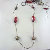 Modern Very Long Necklace, Red Bead and Chain.