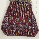 Dark Red Beaded Evening Bag.