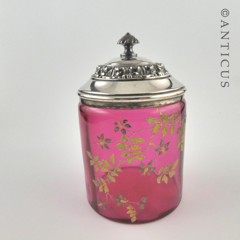 Cranberry Glass Victorian-period Lidded Jar.