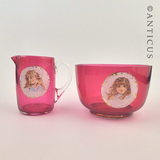 Cranberry Glass Cream & Sugar, Children Picts.