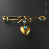 Victorian Gold Heart-Shaped Brooch with Turquoises.
