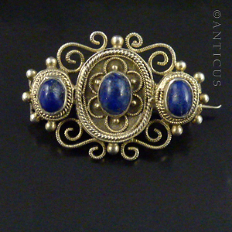 Filigree Silver Brooch with Lapis Lazuli Stones.