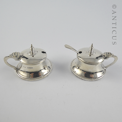 Pair Small Silver Mustard Pots, Arts & Crafts Style.
