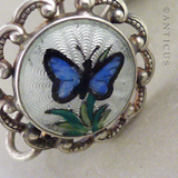 Pair of Enamel and Silver Butterfly Earrings.