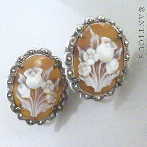 Pair of Silver, Cameo & Marcasite Earrings.