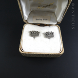 Pair Marcasite Screw-Fit Naval Crown Earrings.
