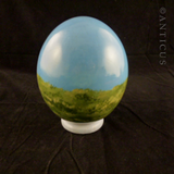 Vintage Ostrich Egg with Print of Lion.