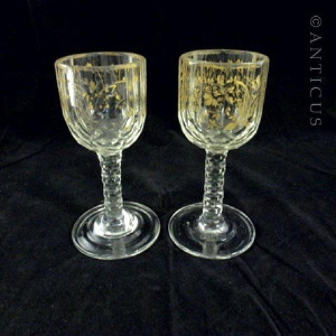 Pair George III period Cordial Glasses, Gilt Decoration.