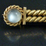 15ct Gold, Moonstone and Pearl Antique Brooch.