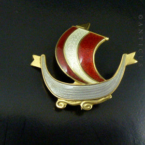 Norwegian Silver Gilt and Enamel Viking Ship Brooch.