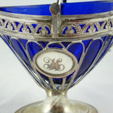 Sheffield Plate Sugar Basket with Blue Glass Liner.