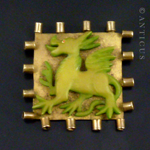 Art Deco Square Brass and Bakelite Dragon Brooch.