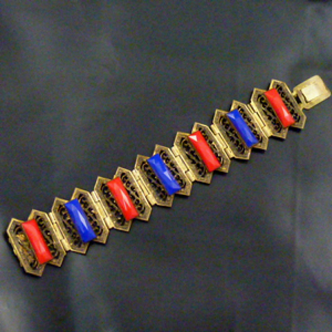 1930s Czech Gilt Metal and Glass Panel Bracelet.