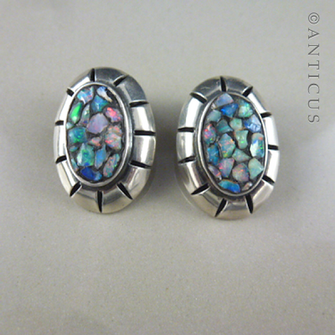Sterling Silver and Opal Chip Earrings, Clips.